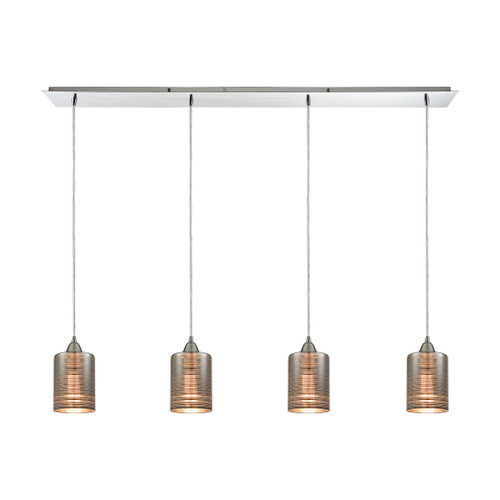 ELK Lighting 10565/4LP Plated Rings 4-Light Linear Pendant Fixture in Polished Chrome with Chrome-plated Rings Glass