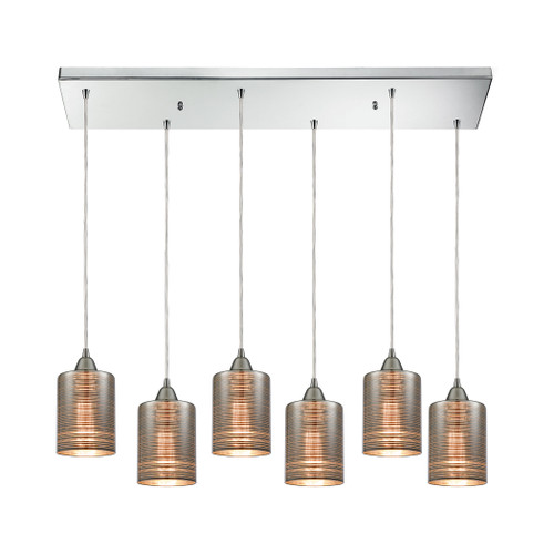 ELK Lighting 10565/6RC Plated Rings 6-Light Rectangular Pendant Fixture in Polished Chrome with Chrome-plated Rings Glass