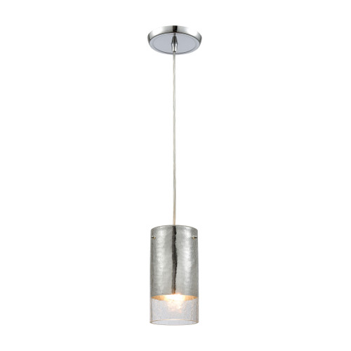 ELK Lighting 10570/1 Tallula 1-Light Mini Pendant in Chrome with Chrome-plated and Clear Crackle Glass