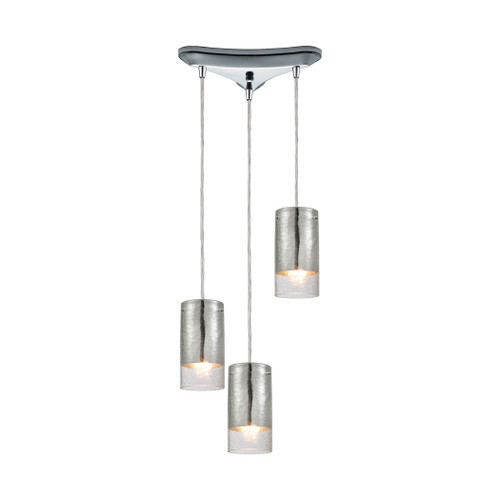 ELK Lighting 10570/3 Tallula 3-Light Triangular Pendant Fixture in Chrome with Chrome-plated and Clear Crackle Glass
