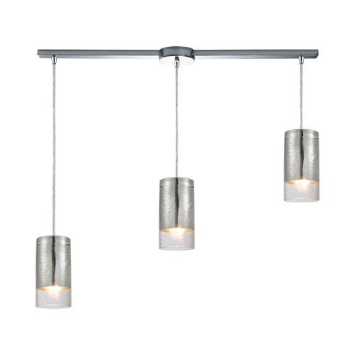 ELK Lighting 10570/3L Tallula 3-Light Linear Mini Pendant Fixture in Chrome with Chrome-plated and Clear Crackle Glass