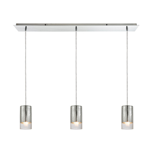 ELK Lighting 10570/3LP Tallula 3-Light Linear Mini Pendant Fixture in Chrome with Chrome-plated and Clear Crackle Glass