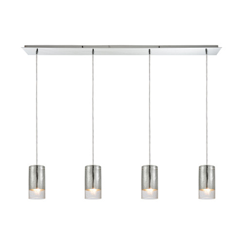 ELK Lighting 10570/4LP Tallula 4-Light Linear Pendant Fixture in Chrome with Chrome-plated and Clear Crackle Glass