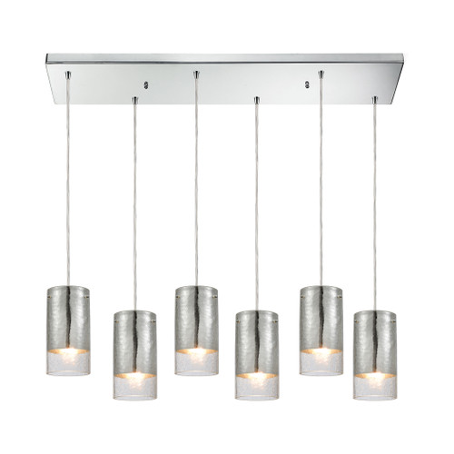 ELK Lighting 10570/6RC Tallula 6-Light Rectangular Pendant Fixture in Chrome with Chrome-plated and Clear Crackle Glass