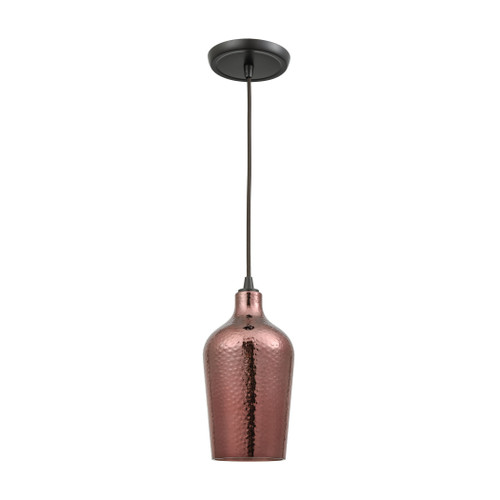 ELK Lighting 10571/1 Hammered Glass 1-Light Mini Pendant in Oiled Bronze with Copper-plated Hammered Glass
