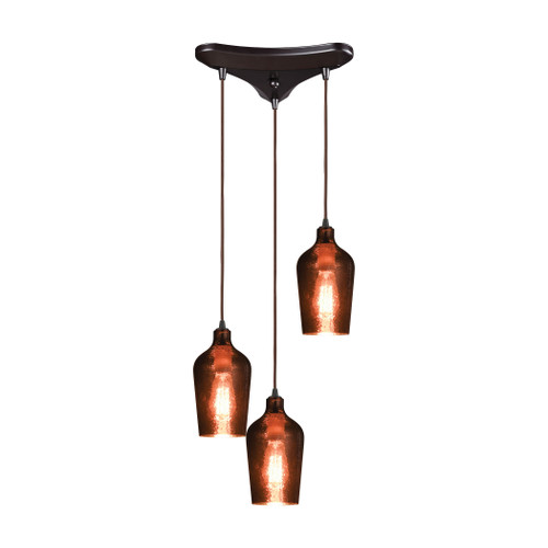 ELK Lighting 10571/3 Hammered Glass 3-Light Triangular Pendant Fixture in Oiled Bronze with Copper-plated Hammered Glass