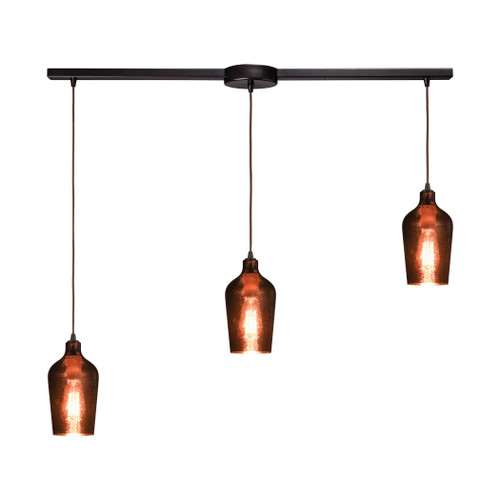 ELK Lighting 10571/3L Hammered Glass 3-Light Linear Mini Pendant Fixture in Oiled Bronze with Copper-plated Hammered Glass