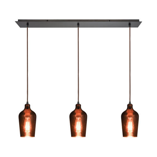 ELK Lighting 10571/3LP Hammered Glass 3-Light Linear Mini Pendant Fixture in Oiled Bronze with Copper-plated Hammered Glass