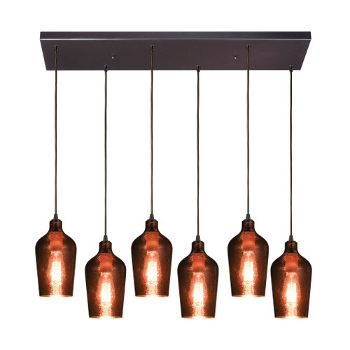 ELK Lighting 10571/6RC Hammered Glass 6-Light Rectangular Pendant Fixture in Oiled Bronze with Copper-plated Hammered Glass