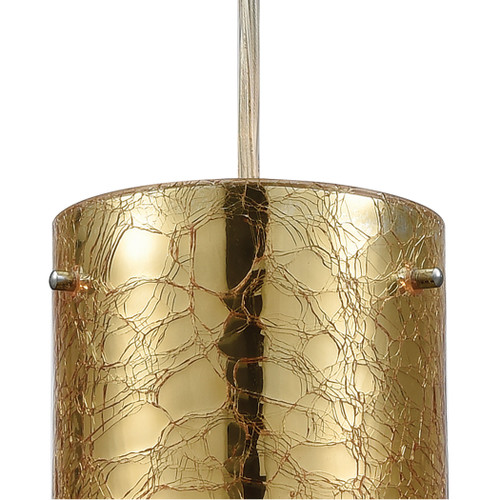 ELK Lighting 10580/1 Tallula 1-Light Mini Pendant in Chrome with Gold-plated and Clear Crackle Glass