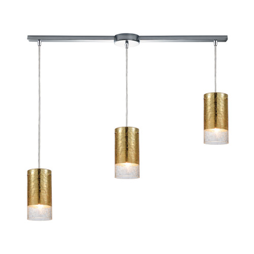 ELK Lighting 10580/3L Tallula 3-Light Linear Mini Pendant Fixture in Chrome with Gold-plated and Clear Crackle Glass