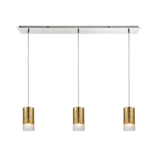 ELK Lighting 10580/3LP Tallula 3-Light Linear Mini Pendant Fixture in Chrome with Gold-plated and Clear Crackle Glass