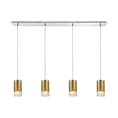 ELK Lighting 10580/4LP Tallula 4-Light Linear Pendant Fixture in Chrome with Gold-plated and Clear Crackle Glass