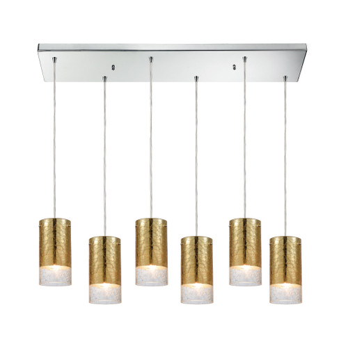 ELK Lighting 10580/6RC Tallula 6-Light Rectangular Pendant Fixture in Chrome with Gold-plated and Clear Crackle Glass