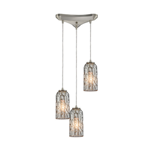 ELK Lighting 10600/3 Ansegar 3-Light Triangular Pendant Fixture in Satin Nickel with Textured Smoke Glass