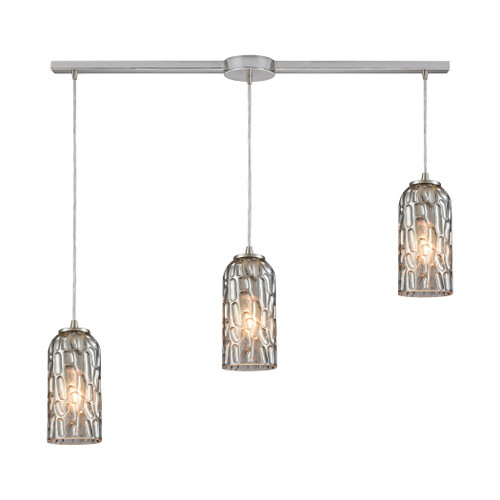 ELK Lighting 10600/3L Ansegar 3-Light Linear Mini Pendant Fixture in Satin Nickel with Textured Smoke Glass