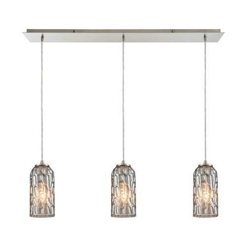 ELK Lighting 10600/3LP Ansegar 3-Light Linear Mini Pendant Fixture in Satin Nickel with Textured Smoke Glass