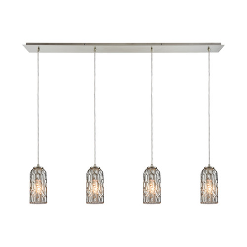 ELK Lighting 10600/4LP Ansegar 4-Light Linear Pendant Fixture in Satin Nickel with Textured Smoke Glass