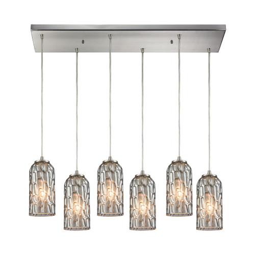 ELK Lighting 10600/6RC Ansegar 6-Light Rectangular Pendant Fixture in Satin Nickel with Textured Smoke Glass