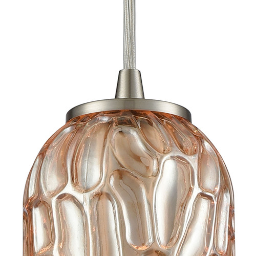 ELK Lighting 10610/1 Ansegar 1-Light Mini Pendant in Satin Nickel with Amber-plated Textured Glass