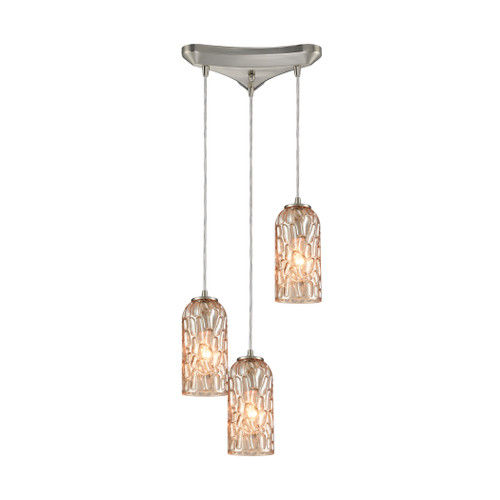 ELK Lighting 10610/3 Ansegar 3-Light Triangular Pendant Fixture in Satin Nickel with Amber-plated Textured Glass