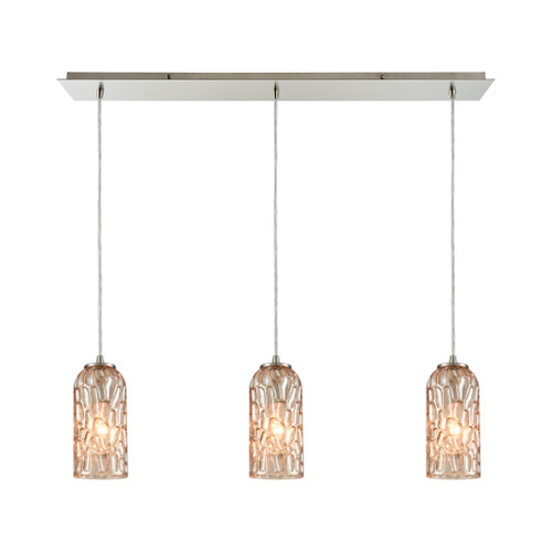 ELK Lighting 10610/3LP Ansegar 3-Light Linear Mini Pendant Fixture in Satin Nickel with Amber-plated Textured Glass