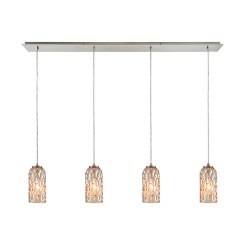 ELK Lighting 10610/4LP Ansegar 4-Light Linear Pendant Fixture in Satin Nickel with Amber-plated Textured Glass