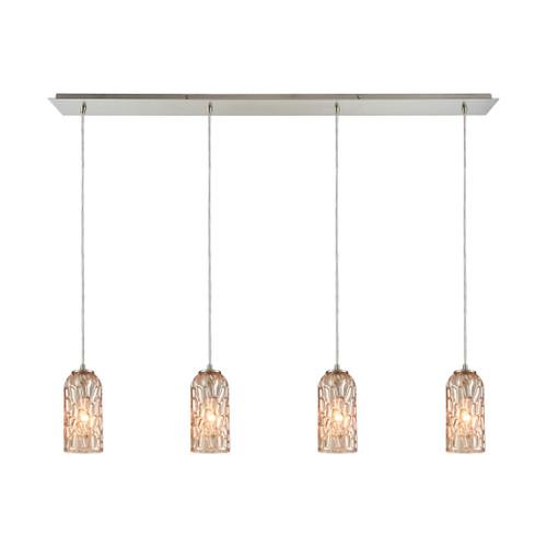 ELK Lighting 10610/4LP Ansegar 4-Light Linear Pendant Fixture in Satin Nickel with Amber-plated Textured Glass