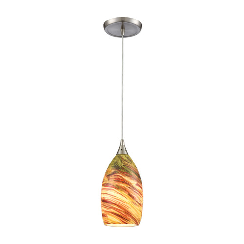 ELK Lighting 10630/1 Collanino 1-Light Mini Pendant in Satin Nickel with Lava Swirl Blown Glass