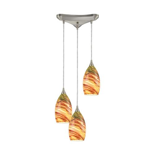 ELK Lighting 10630/3 Collanino 3-Light Triangular Pendant Fixture in Satin Nickel with Lava Swirl Blown Glass