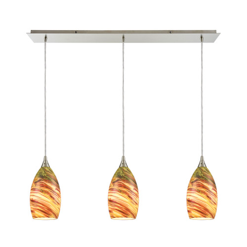 ELK Lighting 10630/3LP Collanino 3-Light Linear Mini Pendant Fixture in Satin Nickel with Lava Swirl Blown Glass