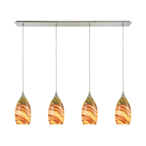 ELK Lighting 10630/4LP Collanino 4-Light Linear Pendant Fixture in Satin Nickel with Lava Swirl Blown Glass