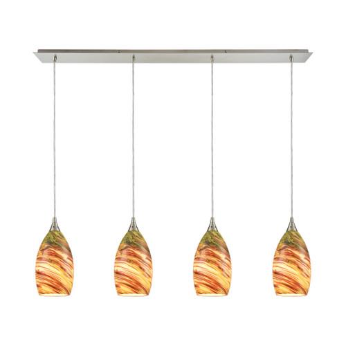 ELK Lighting 10630/4LP Collanino 4-Light Linear Pendant Fixture in Satin Nickel with Lava Swirl Blown Glass