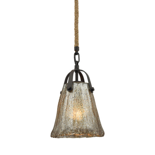 ELK Lighting 10631/1 Hand Formed Glass 1-Light Mini Pendant in Oiled Bronze with Mercury Glass