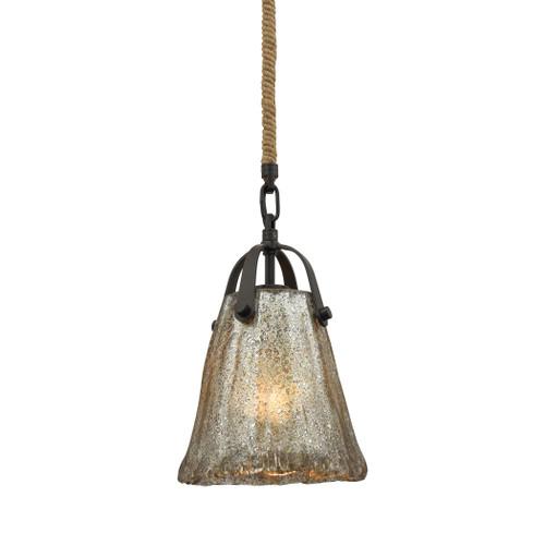 ELK Lighting 10631/1 Hand Formed Glass 1-Light Mini Pendant in Oiled Bronze with Mercury Glass