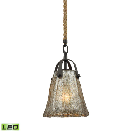 ELK Lighting 10631/1-LED Hand Formed Glass 1-Light Mini Pendant in Oiled Bronze with Mercury Glass - Includes LED Bulb