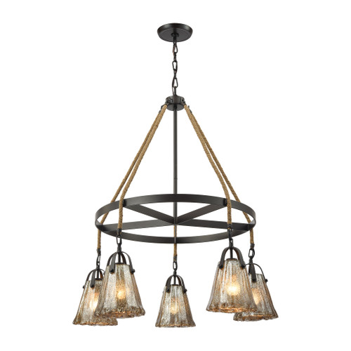 ELK Lighting 10631/5CH Hand Formed Glass 5-Light Chandelier in Oiled Bronze with Mercury Glass