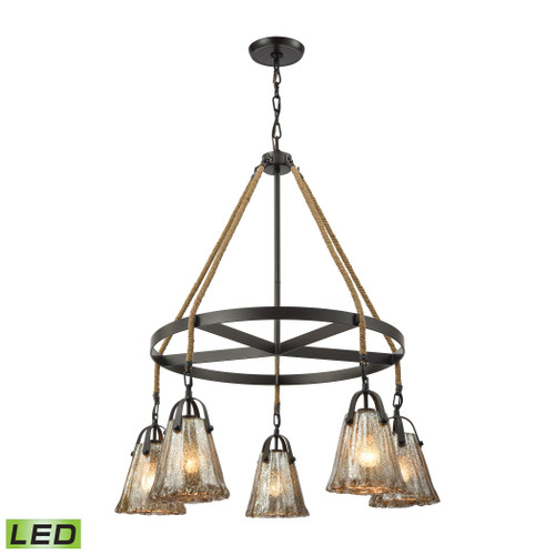ELK Lighting 10631/5CH-LED Hand Formed Glass 5-Light Chandelier in Oiled Bronze with Mercury Glass - Includes LED Bulbs