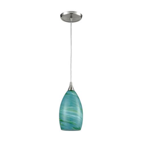 ELK Lighting 10650/1 Collanino 1-Light Mini Pendant in Satin Nickel with Aqua Swirl Blown Glass