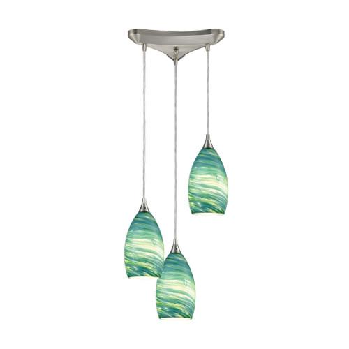 ELK Lighting 10650/3 Collanino 3-Light Triangular Pendant Fixture in Satin Nickel with Aqua Swirl Blown Glass