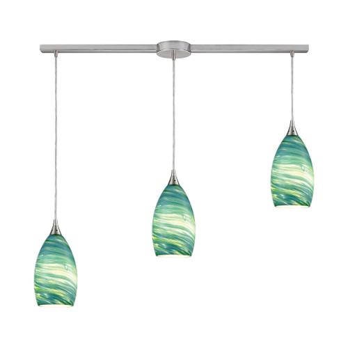 ELK Lighting 10650/3L Collanino 3-Light Linear Mini Pendant Fixture in Satin Nickel with Aqua Swirl Blown Glass