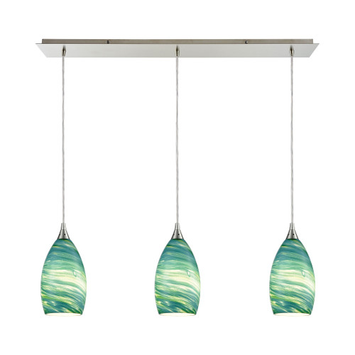 ELK Lighting 10650/3LP Collanino 3-Light Linear Mini Pendant Fixture in Satin Nickel with Aqua Swirl Blown Glass