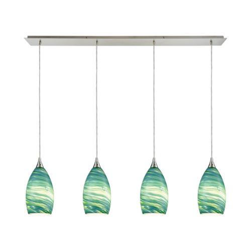 ELK Lighting 10650/4LP Collanino 4-Light Linear Pendant Fixture in Satin Nickel with Aqua Swirl Blown Glass