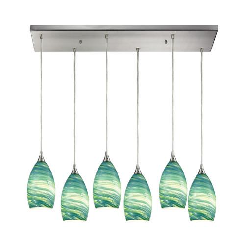 ELK Lighting 10650/6RC Collanino 6-Light Rectangular Pendant Fixture in Satin Nickel with Aqua Swirl Blown Glass