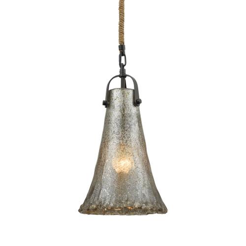 ELK Lighting 10651/1 Hand Formed Glass 1-Light Mini Pendant in Oiled Bronze with Mercury Glass