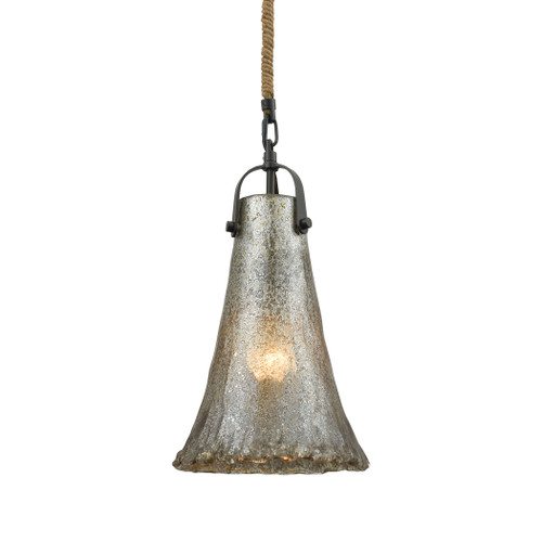 ELK Lighting 10651/1 Hand Formed Glass 1-Light Mini Pendant in Oiled Bronze with Mercury Glass