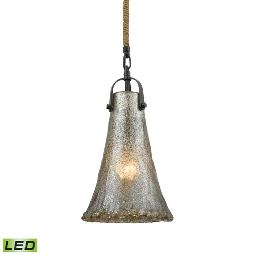 ELK Lighting 10651/1-LED Hand Formed Glass 1-Light Mini Pendant in Oiled Bronze with Mercury Glass - Includes LED Bulb