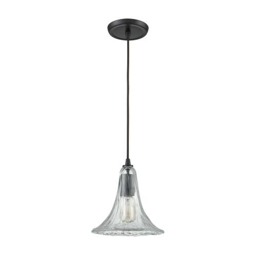 ELK Lighting 10652/1 Hand Formed Glass 1-Light Mini Pendant in Oiled Bronze with Clear Hand-formed Glass