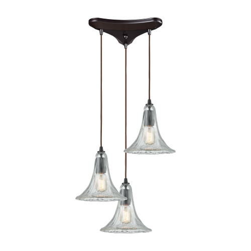 ELK Lighting 10652/3 Hand Formed Glass 3-Light Triangular Pendant Fixture in Oiled Bronze with Clear Hand-formed Glass