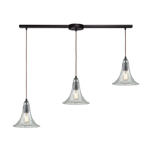 ELK Lighting 10652/3L Hand Formed Glass 3-Light Linear Mini Pendant Fixture in Oiled Bronze with Clear Hand-formed Glass